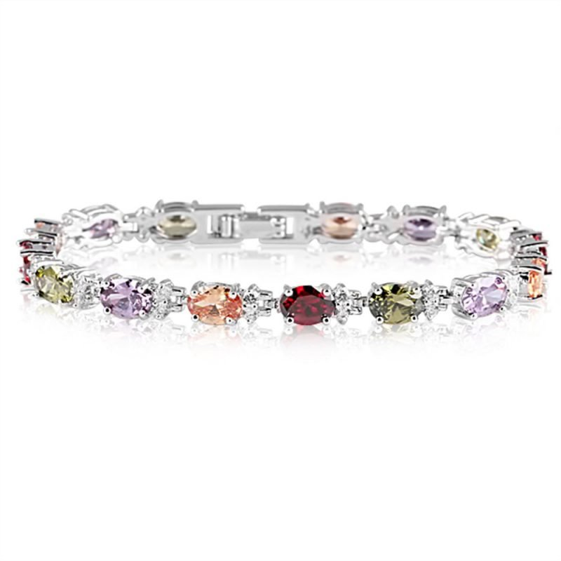 Rainbow Multi Colour Crystals Bracelet Zircon White Gold Plated Copper TruFlair Online Boutique