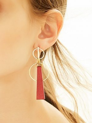 Red Wood Drop Earrings, Gold Plated TruFlair