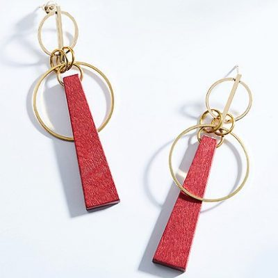 Red Wood Drop Earrings Gold Plated Alloy TruFlair Online Boutique