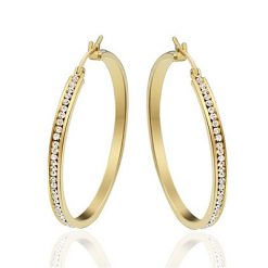 Rhinestone Paved Hoop Earrings Gold Plated Titanium TruFlair Online Boutique