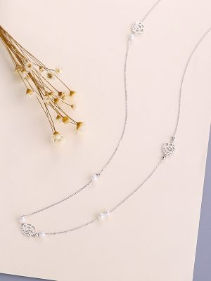 Silver & Pearl Long Sweater Necklace, Platinum Plated TruFlair