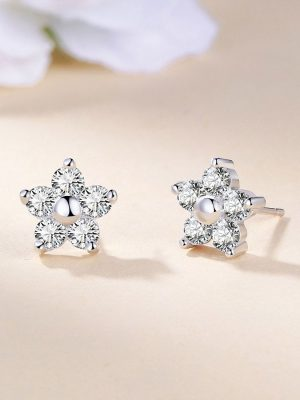 Star Crystal Stud Earrings, Platinum Plated Sterling Silver TruFlair