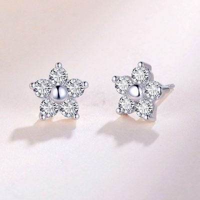 Star Crystal Earrings Cubic Zirconia Platinum Plated Sterling Silver TruFlair Online Boutique