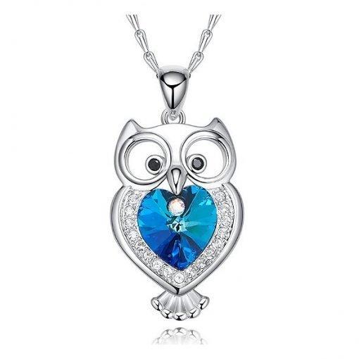 Blue Heart Swarovski Elements Crystal Owl Pendant Platinum Plated Copper TruFlair Online Boutique
