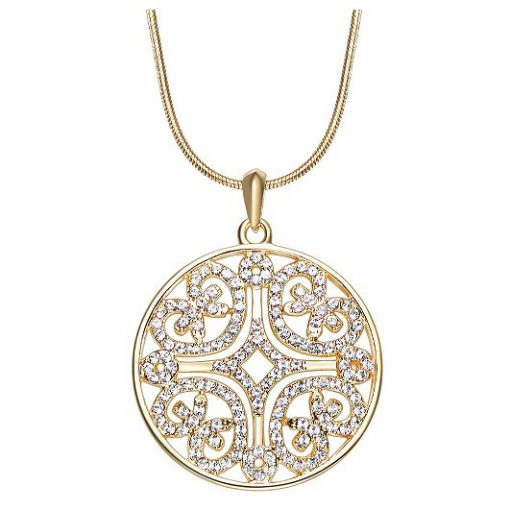 Swarovski Elements Crystals Studded Round Pendant Gold Plated Alloy Long Chain TruFlair Online Boutique