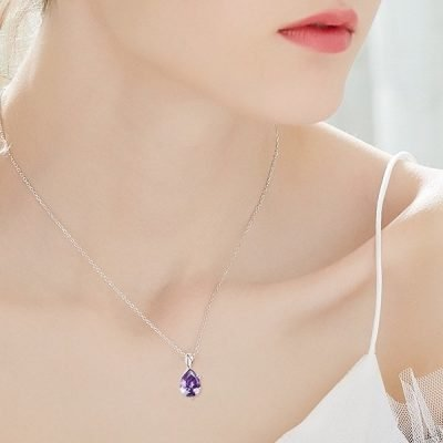 Twist Purple Zircon Pendant Platinum Plated Sterling Silver TruFlair Online Boutique
