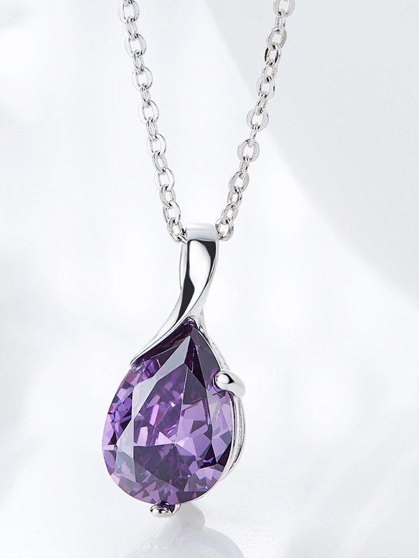 Twist Purple Zircon Pendant Platinum Plated Sterling Silver TruFlair Online Boutique