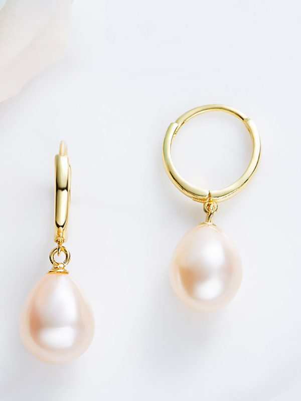 Yellow Freshwater Pearl Hoop Earrings Gold Plated Sterling Silver TruFlair Online Boutique