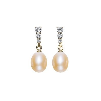 Freshwater Yellow Pearls Cubic Zirconia Gold Plated Sterling Silver Stud Earrings TruFlair Online Boutique
