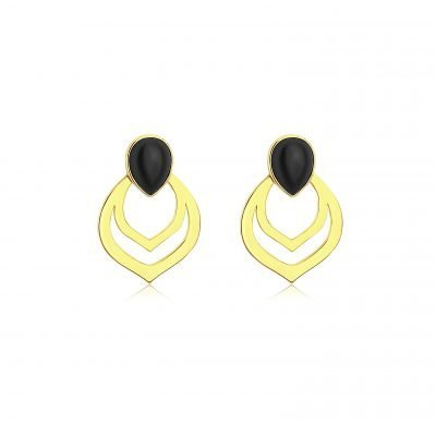 Black Agate Pierced Earrings Gold Plated Sterling Silver TruFlair Online Boutique