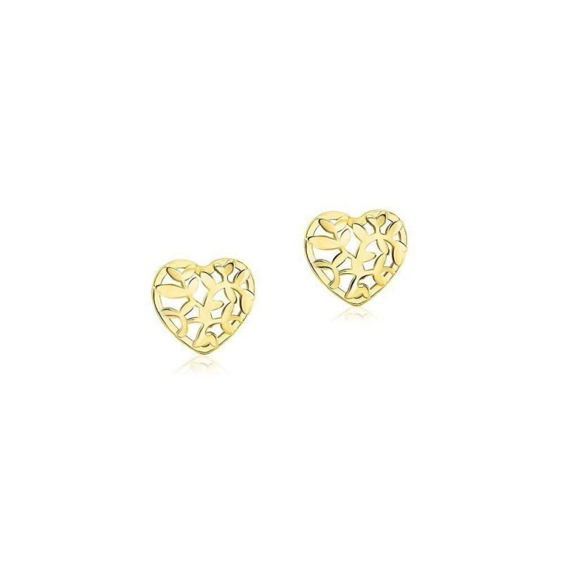 Heart Shaped Leaves Stud Earrings Gold Plated Sterling Silver TruFlair Online Boutique