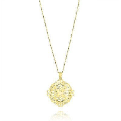 Labyrinth Persian Geometry Necklace Gold Plated Sterling Silver TruFlair Online Boutique