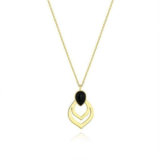 Black Agate Necklace Gold Plated Sterling Silver TruFlair Online Boutique