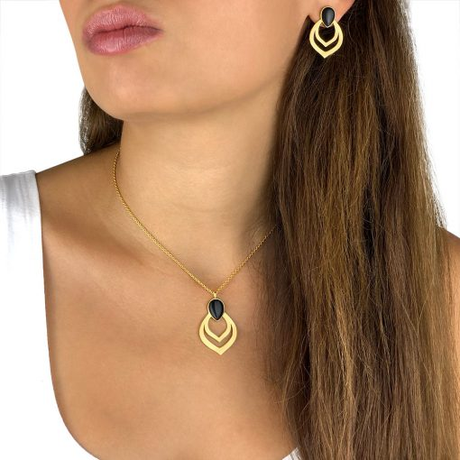 Black Agate Pierced Earrings Pendant Gold Plated Sterling Silver TruFlair Online Boutique