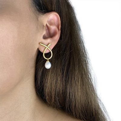 Twist Freshwater Pearl Earrings Gold Plated Sterling Silver TruFlair Online Boutique