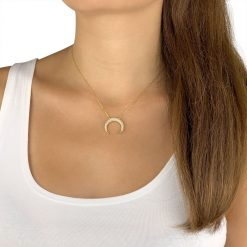 Micro Paved Horn Necklace Gold Plated Sterling Silver Cubic Zirconia TruFlair Online Boutique
