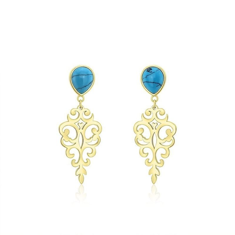 Turquoise Persian Geometry Drop Earrings 18k Gold Plated Sterling Silver TruFlair Online Boutique