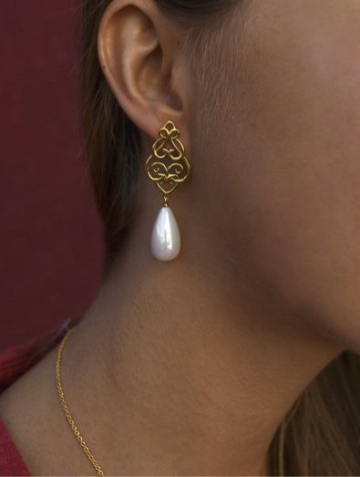 Filigree Persian Geometry Shell Pearl Earrings, 18k Gold Plated Sterling Silver TruFlair