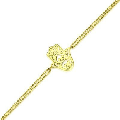 Hamsa Hand Bracelet 18k Gold Plated Sterling Silver TruFlair Online Boutique