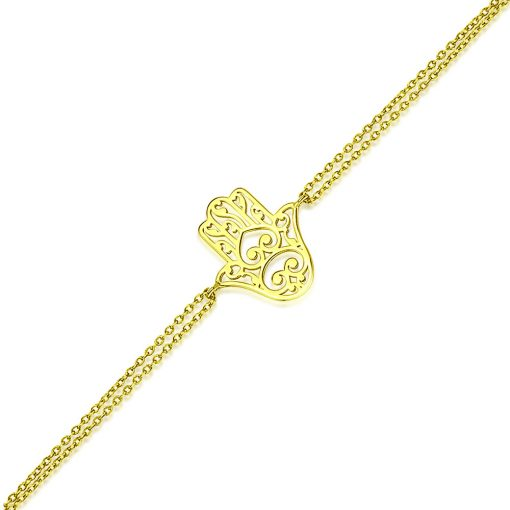 Hamsa Hand Bracelet 18k Gold Plated Sterling Silver TruFlair Online Boutique