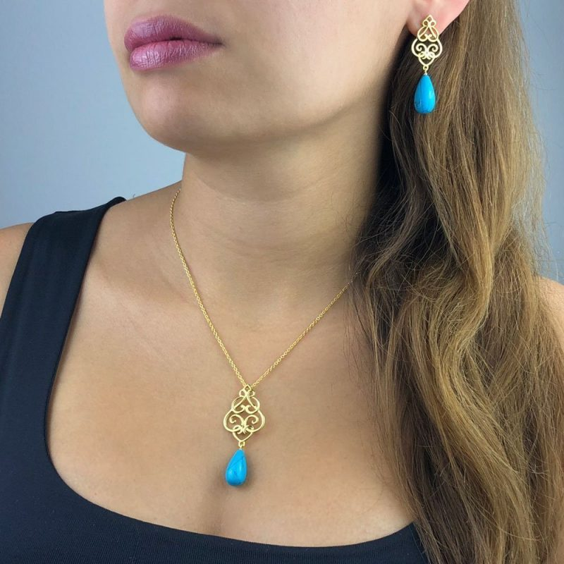 Filigree Persian Geometry Turquoise Pendant Earrings 18k Gold Plated Sterling Silver TruFlair Online Boutique