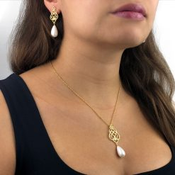 Filigree Persian Geometry Shell Pearl Pendant 18k Gold Plated Sterling Silver TruFlair Online Boutique