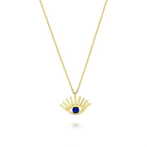 Evil Eye Long Lashes Blue Zircon 18k Gold Plated Sterling Silver TruFlair Online Boutique