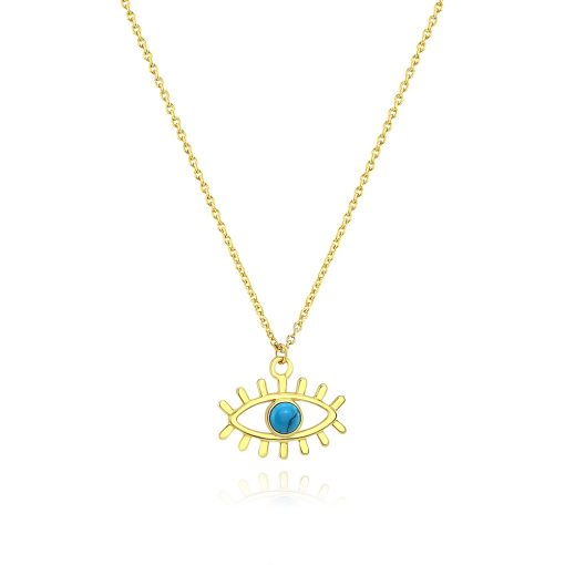 Evil Eye Turquoise Pendant 18k Gold Plated Sterling Silver TruFlair Online Boutique