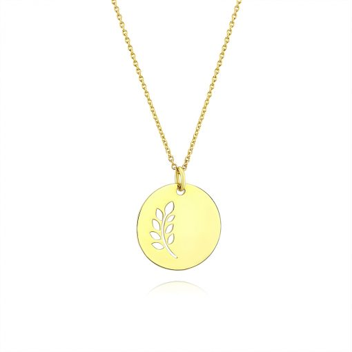 Leaves Disc Pendant 18k Gold Plated Sterling Silver TruFlair Online Boutique
