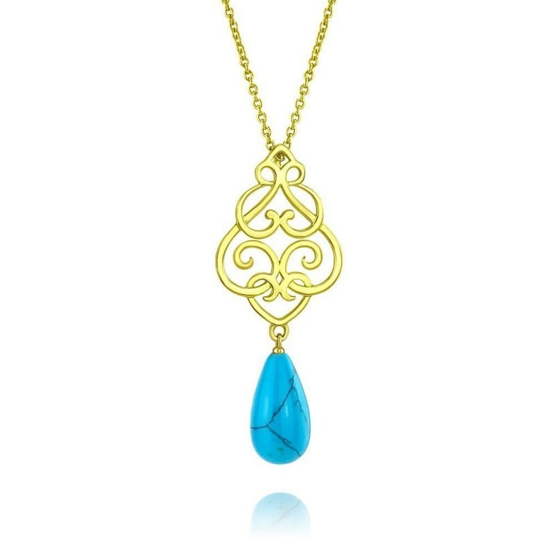 Filigree Persian Geometry Turquoise Pendant 18k Gold Plated Sterling Silver TruFlair Online Boutique