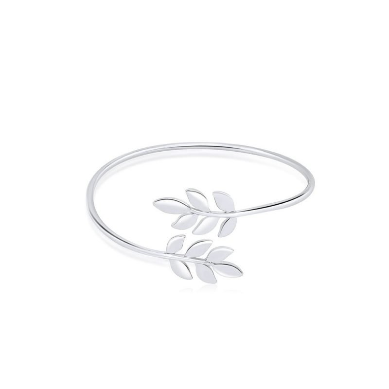 Olive Leaves Bangle 18k White Gold Plated Brass TruFlair Online Boutique