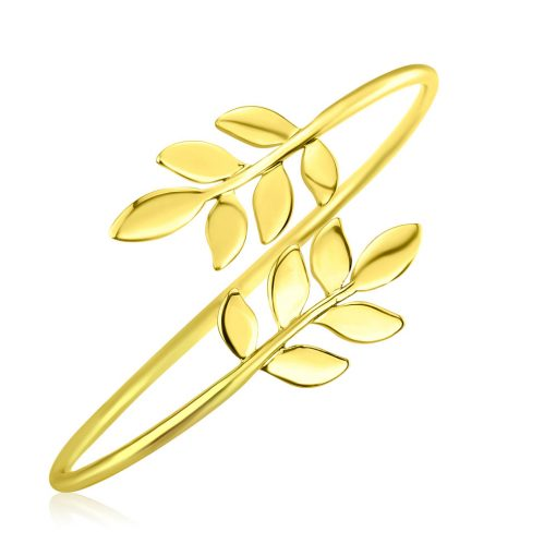 Olive Leaves Bangle 18k Gold Plated Brass TruFlair Online Boutique
