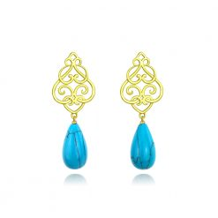 Filigree Persian Geometry Turquoise Earrings 18k Gold Plated Sterling Silver TruFlair Online Boutique