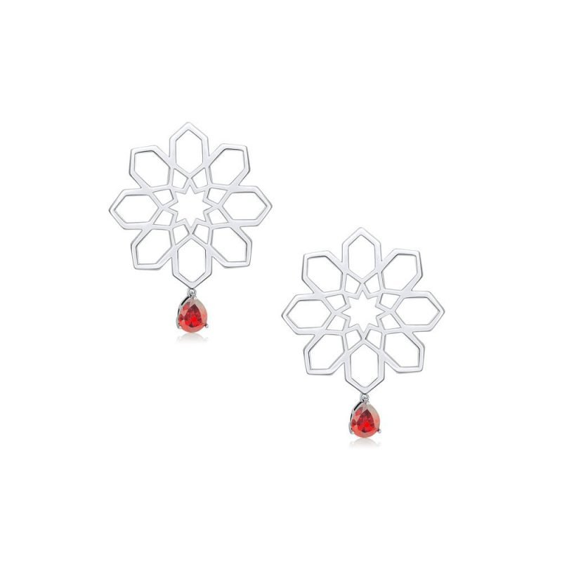 Star Persian Geometry Silver Earrings 18k White Gold Plated Sterling Silver TruFlair Online Boutique