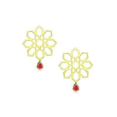 Star Persian Geometry Gold Earrings 18k Gold Plated Sterling Silver TruFlair Online Boutique