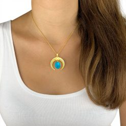 Turquoise Horn Necklace 18k Gold Plated Sterling Silver TruFlair Online Boutique