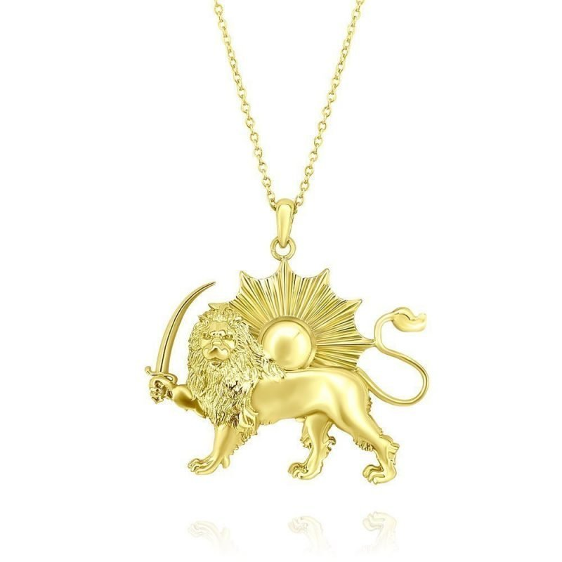 Lion & Sun Necklace Pendant 18K Gold Plated Sterling Silver TruFlair Online Boutique