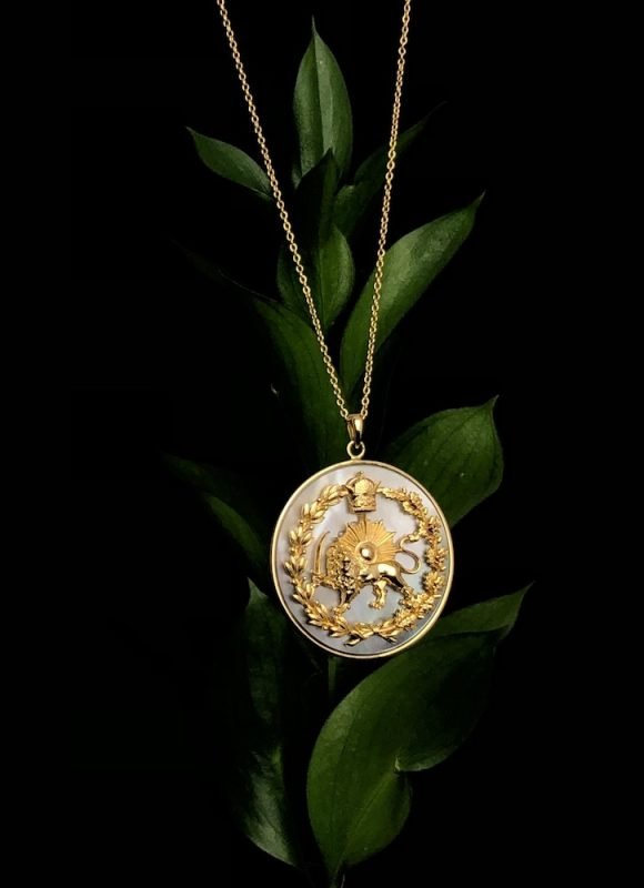 Lion & Sun Imperial Emblem Necklace Pendant 18K Gold Plated Sterling Silver Rainbow Mother of Pearl TruFlair Online Boutique
