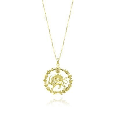 Lion & Sun Imperial Emblem Necklace Pendant 18K Gold Plated Sterling Silver TruFlair Online Boutique