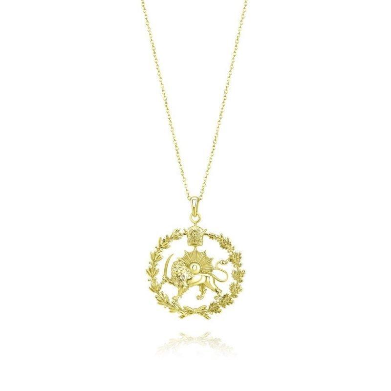 Lion & Sun Imperial Emblem Necklace Pendant 18K Gold Plated Sterling Silver TruFlair Online Boutique