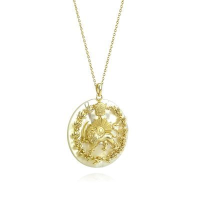 Lion & Sun Imperial Emblem Necklace Pendant 18K Gold Plated Sterling Silver White Mother of Pearl TruFlair Online Boutique