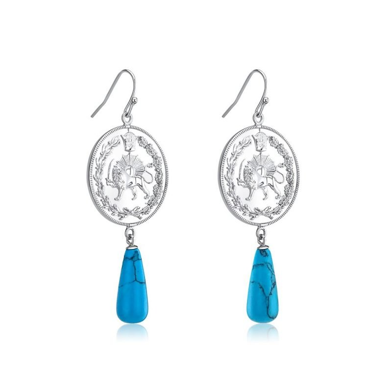 Lion & Sun Imperial Emblem Drop Earrings 18K White Gold Plated Sterling Silver Turquoise TruFlair Online Boutique
