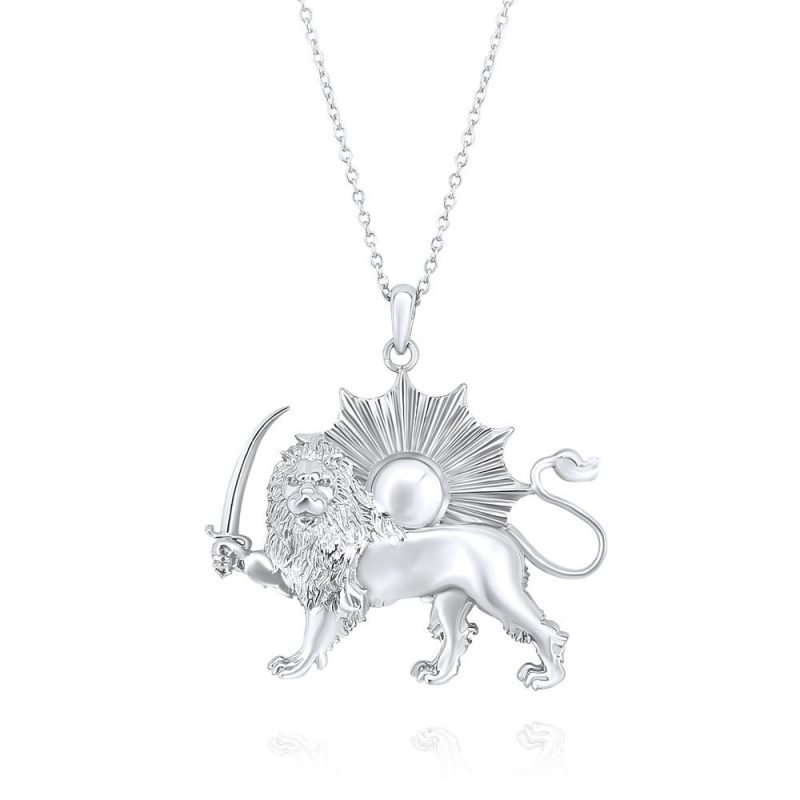 Lion & Sun Necklace Pendant 18K White Gold Plated Sterling Silver TruFlair Online Boutique