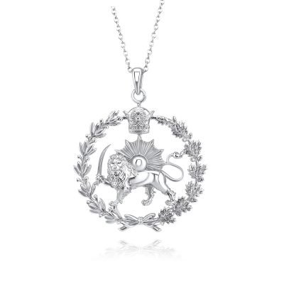 Lion & Sun Imperial Emblem Necklace Pendant 18K White Gold Plated Sterling Silver TruFlair Online Boutique