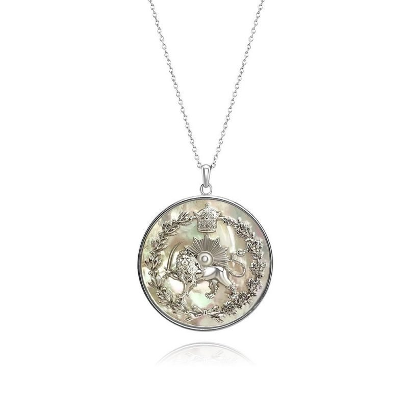 Lion & Sun Imperial Emblem Necklace Pendant 18K White Gold Plated Sterling Silver White Mother of Pearl TruFlair Online Boutique