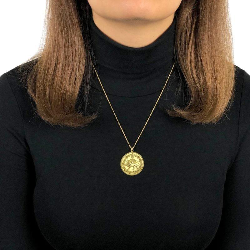 Lion & Sun Imperial Emblem Coin Necklace Pendant 18K Gold Plated Sterling Silver TruFlair Online Boutique