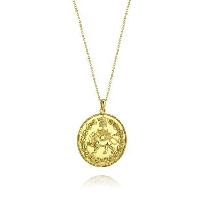 Lion & Sun Imperial Emblem Coin Necklace Pendant 18K Gold Plated Sterling Silver TruFlair Online Boutique