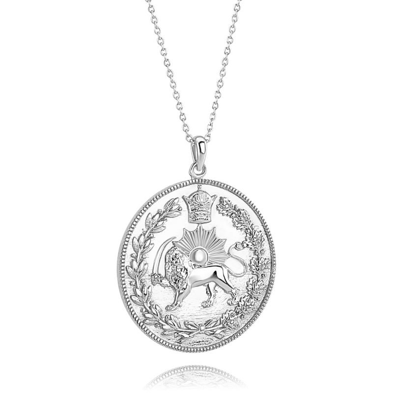 Lion & Sun Imperial Emblem Coin Necklace Pendant 18K White Gold Plated Sterling Silver TruFlair Online Boutique