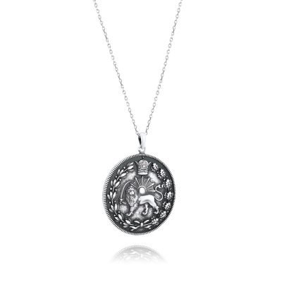 Lion & Sun Imperial Emblem Coin Necklace Pendant Antique Plated Sterling Silver TruFlair Online Boutique